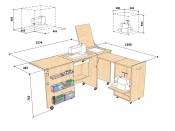 Стол для швейной машины и оверлока Комфорт-3xl